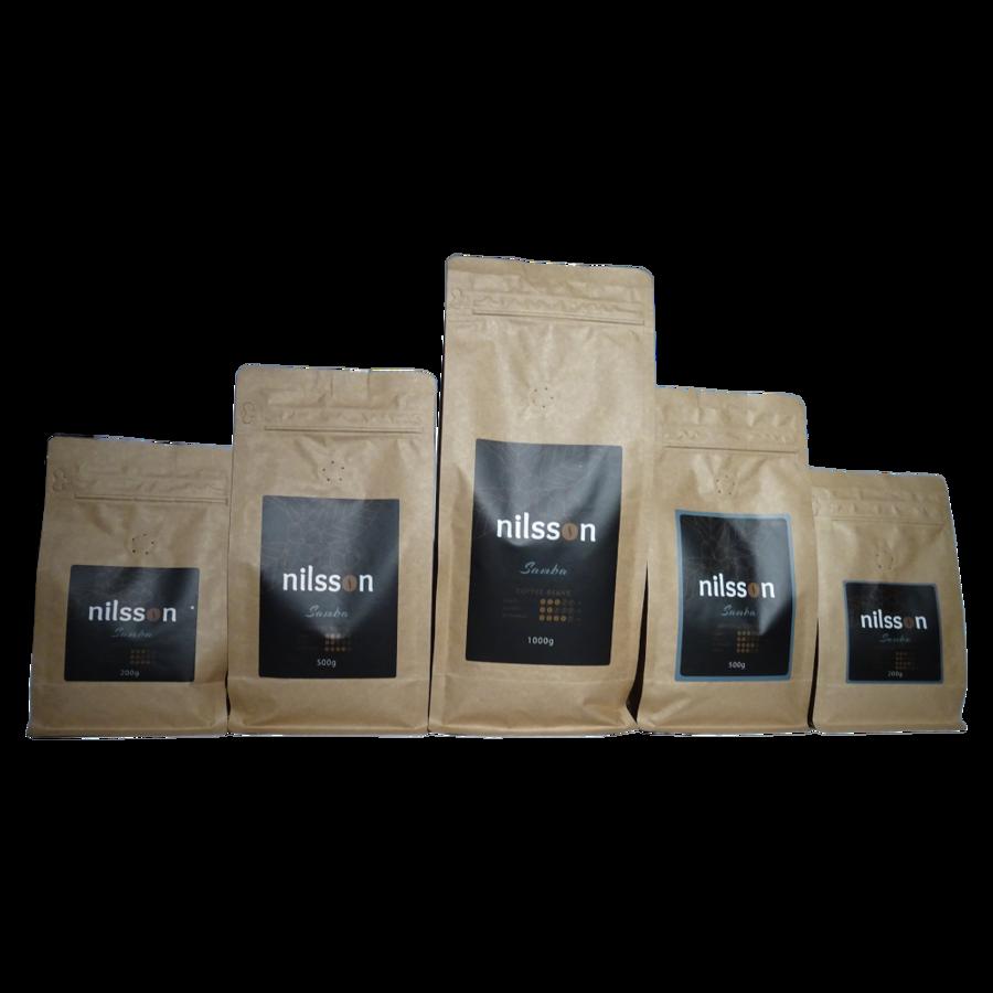 Samba (1 kaste = 8 kg) / Nilsson / Kafijas pupiņas vai malta kafija / cena EUR par 1 kilogramu no